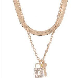 Panacea Herringbone Lock & Key Layered Necklace